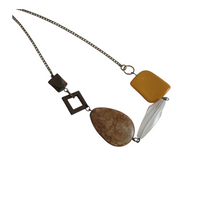 Upcycled Simple Neutral Necklace - hmmngbrds01