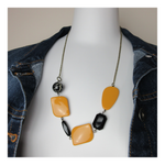 Upcycled Simple Neutral Mustard/Black Necklace - hmmngbrds04