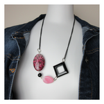 Upcycled Simple Pink Black Necklace - hmmngbrds05