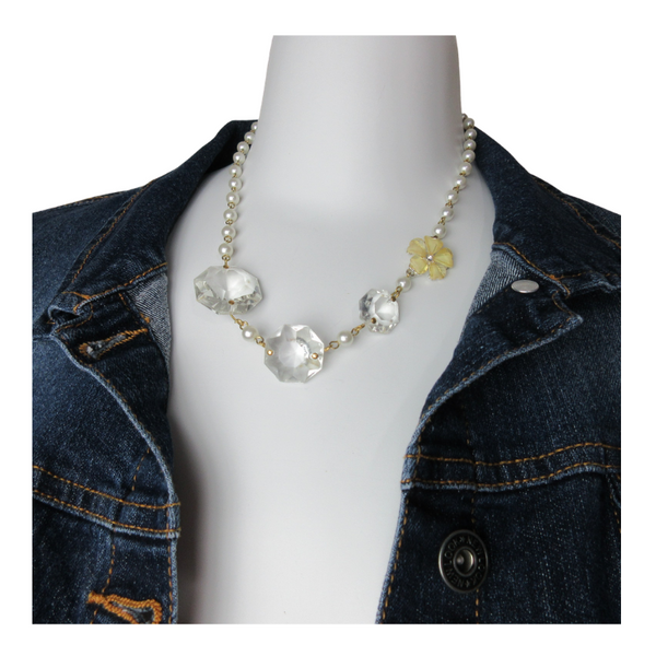 Upcycled Multi Pearl Beads Crystals Necklace - hmmngbrds10