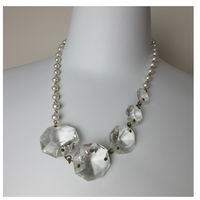 Upcycled Pearl Beads Chandelier Crystals Statement Necklace - hmmngbrds12
