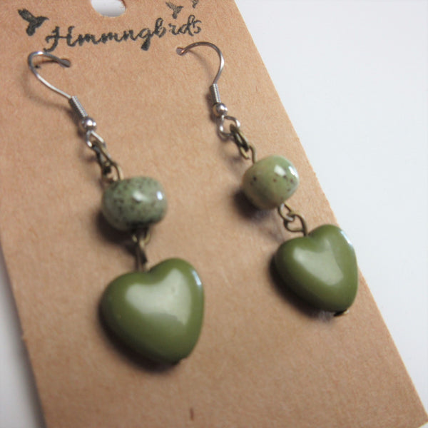 Upcycled Green Clay & Glass Heart Dangle Earrings - Hmmngbrds18