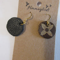 Upcycled From LV Handbag Logo Faux Leather Small Dangle Earrings - Hmmngbrds36