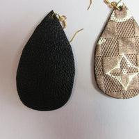Upcycled From LV Handbag Logo Faux Leather Teardrop Dangle Earrings - Hmmngbrds39