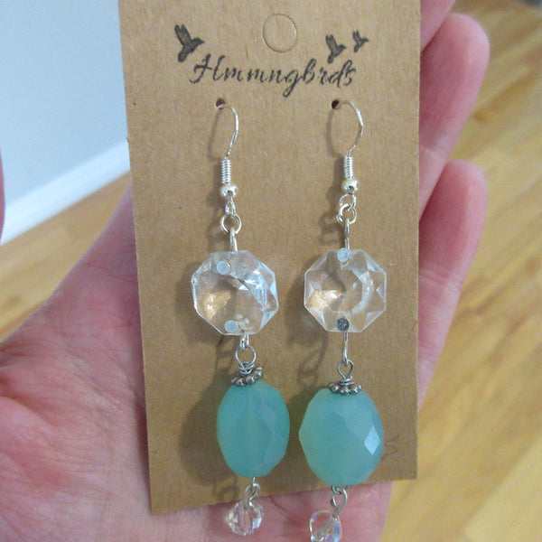 Upcycled Chandelier Crystal Sea Green Glass Dangle Earrings - Hmmngbrds49