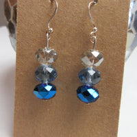 Upcycled Tri Blue Crystal Fancy Dangle Earrings - Hmmngbrds47