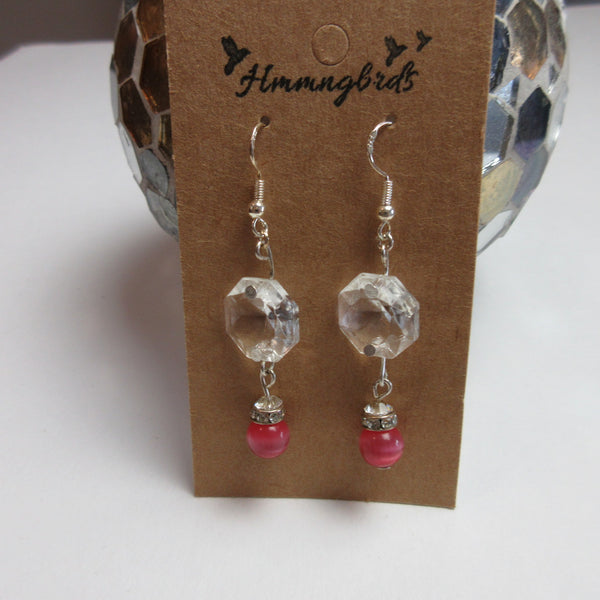 Upcycled Chandelier Crystal Pink Dangle Earrings - Hmmngbrds48