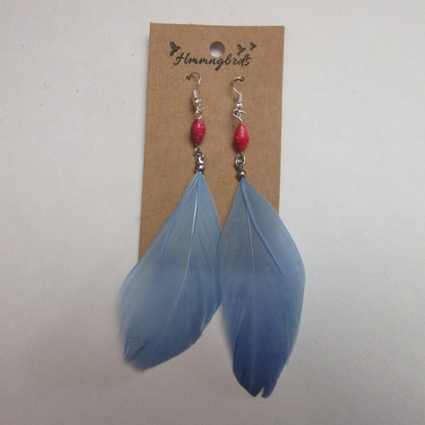 Upcycled Blue Feather Pink Paper BeadDangle Earrings - Hmmngbrds50