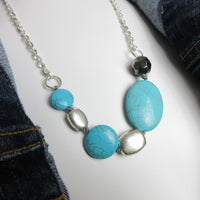 Upcycled Necklace from Polished Turquoise Beads Navajo - hmmngbrds53