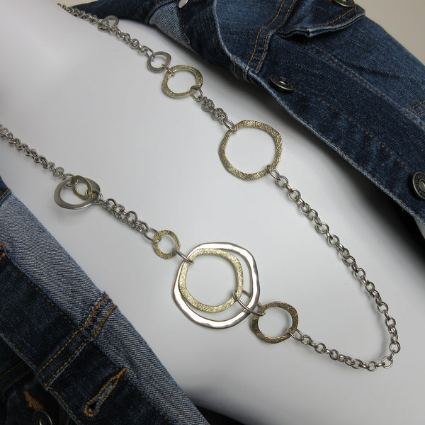 Vintage Silver Gold Geometric Art Deco Chain Necklace Preowned HmmngbrdsP01