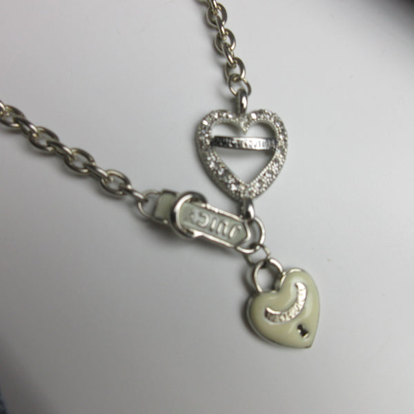 Vintage JUICY Silver Tone Enamel  Pave Heart Charm Necklace Preowned HmmngbrdsP03