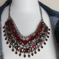 Ruby Red Bead Statement Bib Necklace Preowned HmmngbrdsP04