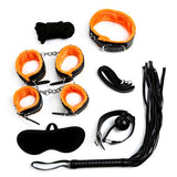 Kit Bondage 7 Pièces Noir/Orange - SWEET LOVE PLEASURE SEXTOY