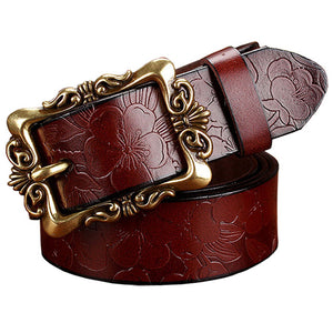 Fashion Wide Genuine leather belt woman vintage Floral Second Layer Cow skin belts for women Top quality strap female for jeans - Emanzio designer