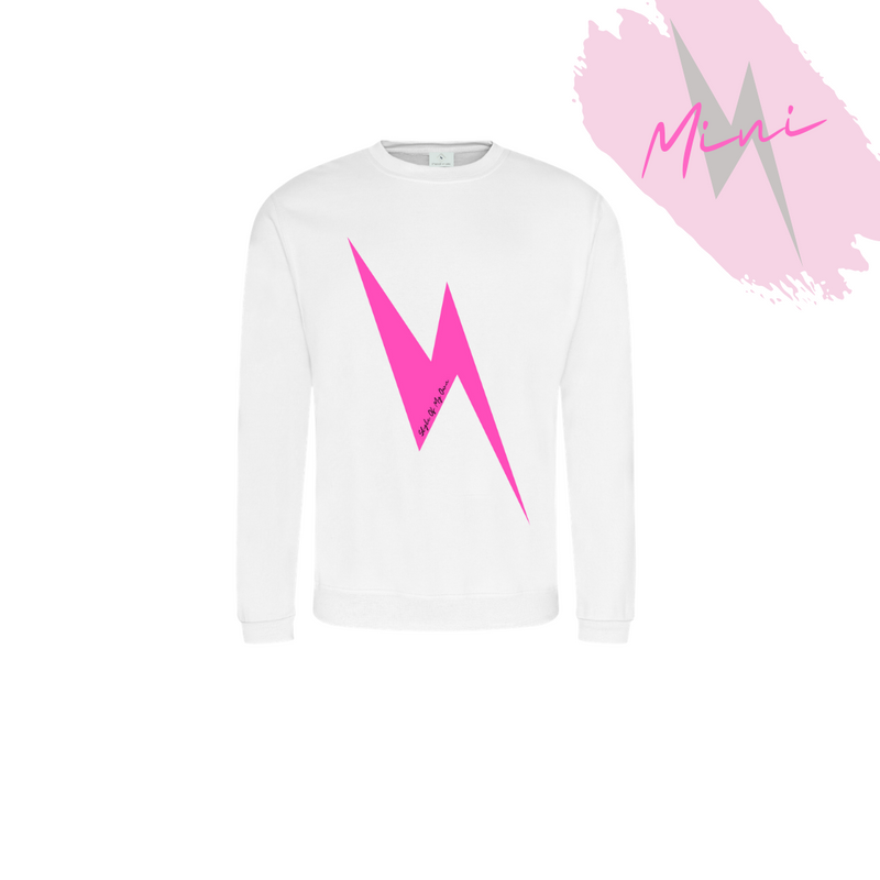 MINI Hot Pink Lightning Bolt Sweatshirt - Available in White