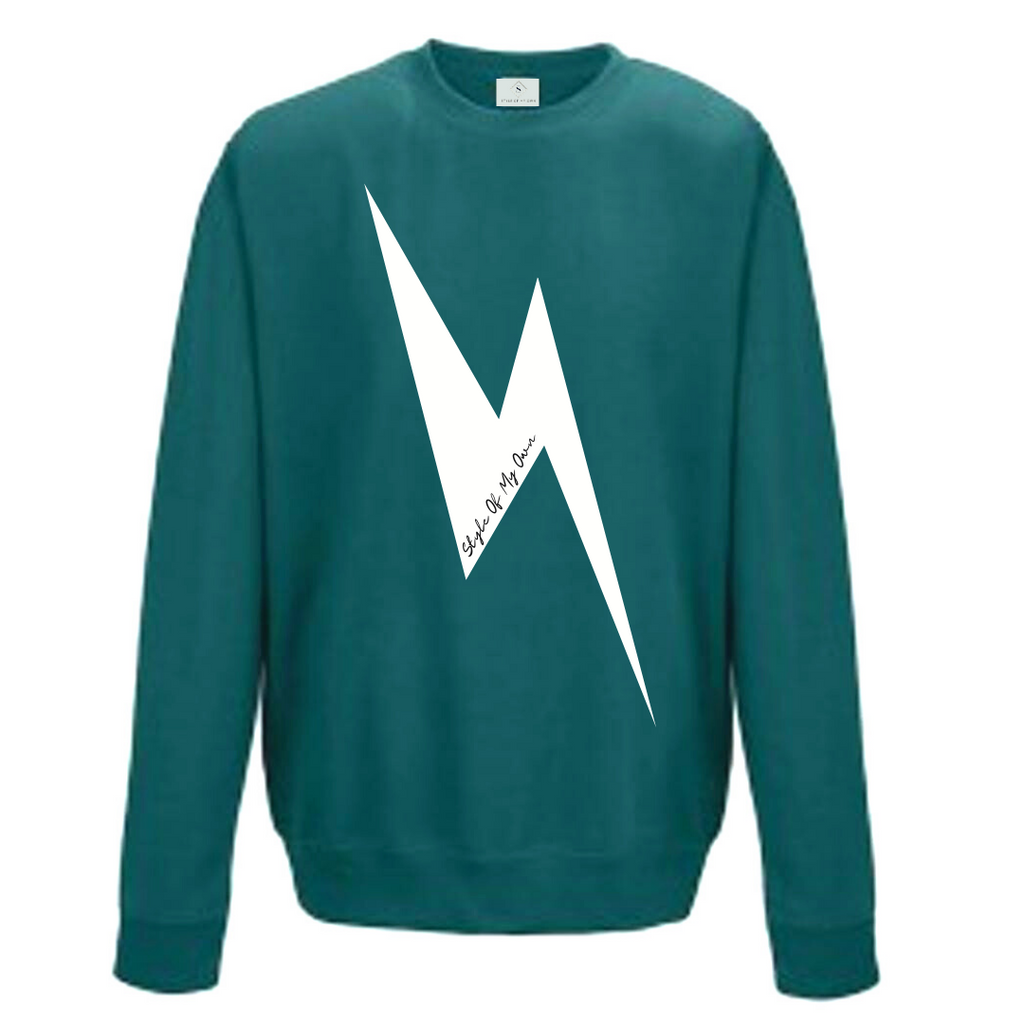 Lightening Bolt Sweatshirt - Available in Jade Green