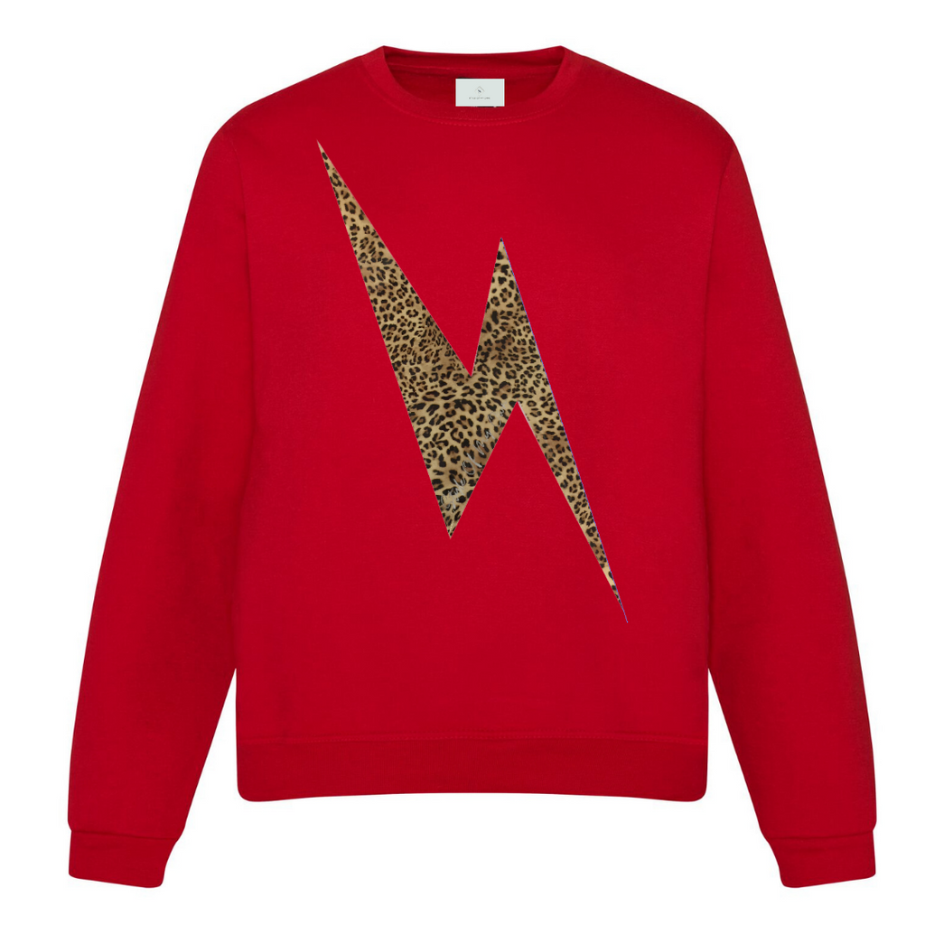 Leopard Lightning Bolt Sweatshirt - Available in Red