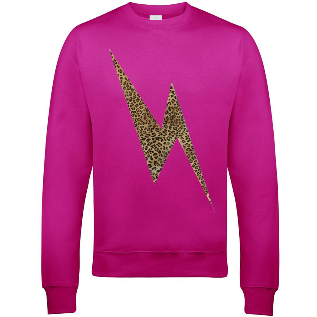 Leopard Lightning Bolt Sweatshirt - Available in Hot Pink