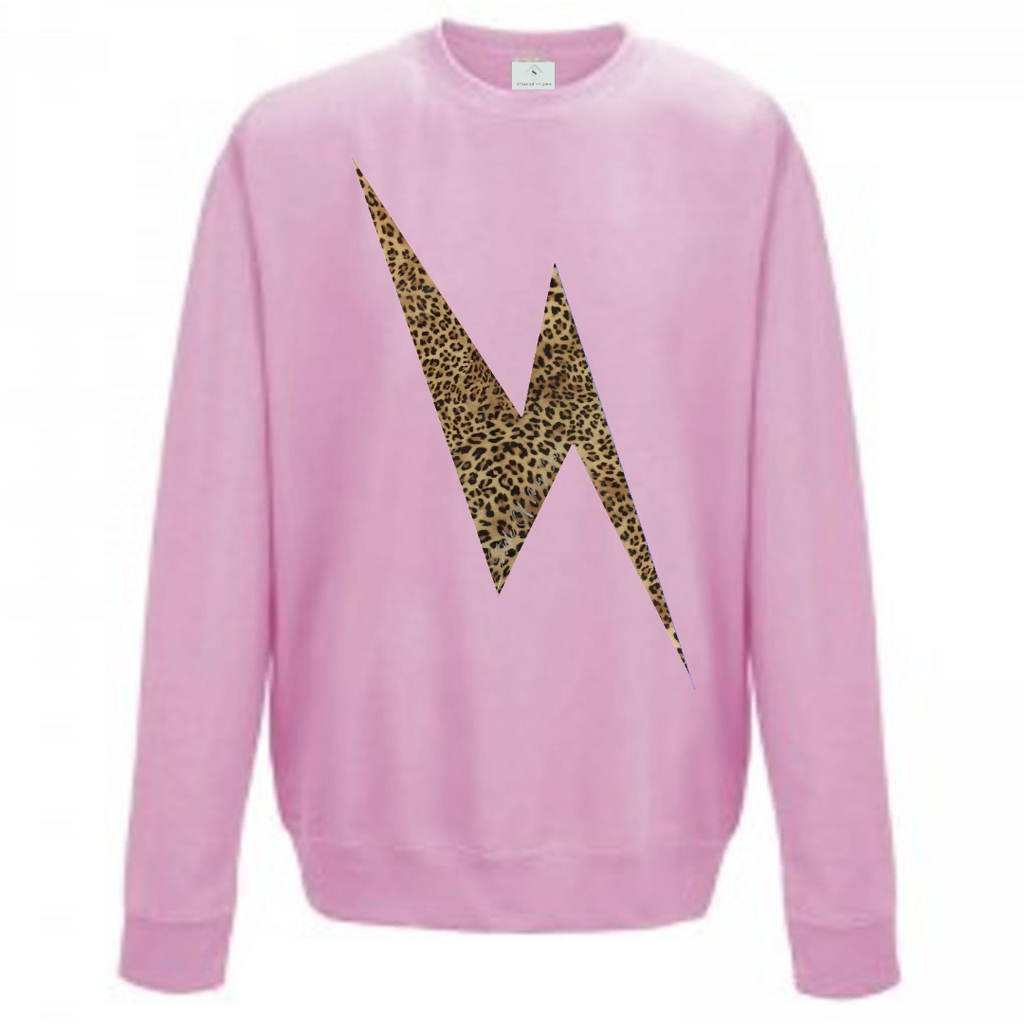 Leopard Lightning Bolt Sweatshirt - Available in Baby Pink