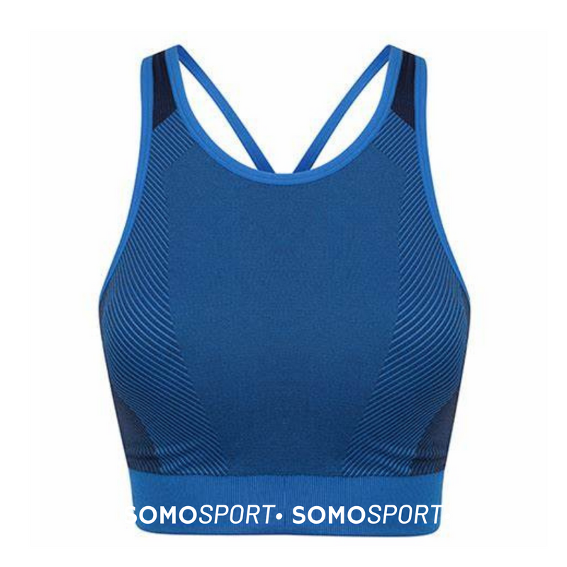 SOMO Sport Seamless Panel Bra Top - Available in Grey & Blue
