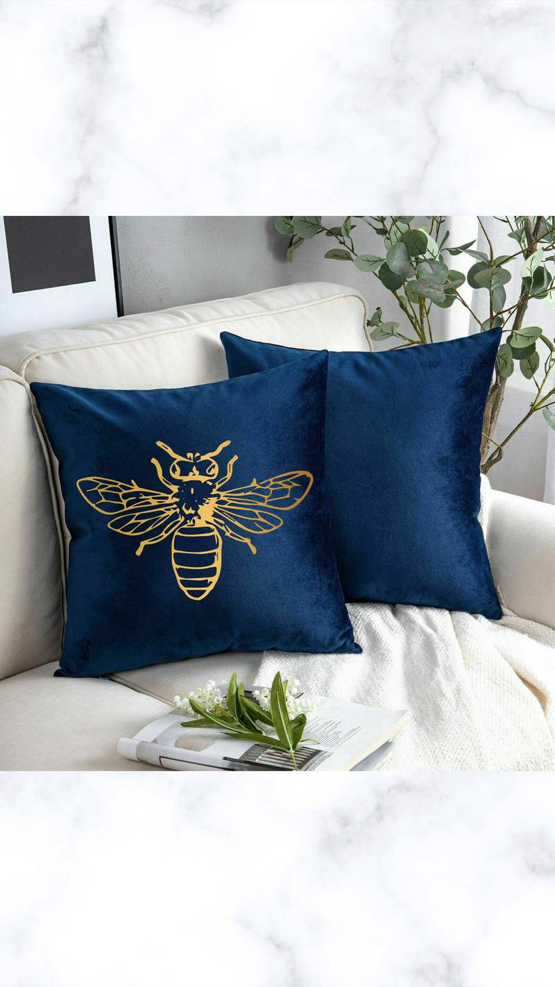 Gold Bee Crushed Velvet Cushion Cover - Navy