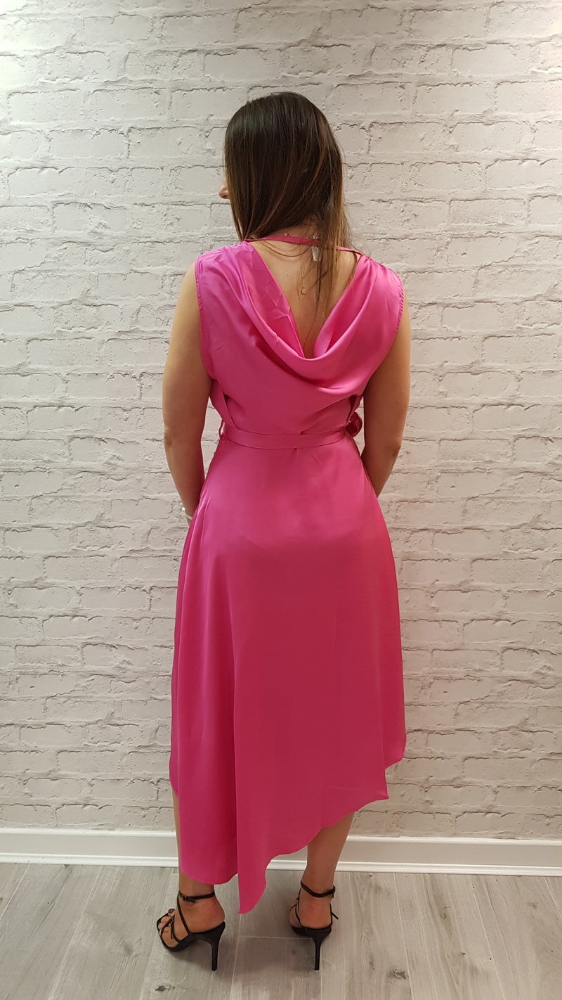 Kimmy Fuchsia Wrap Frill Dress - SIZE L LEFT