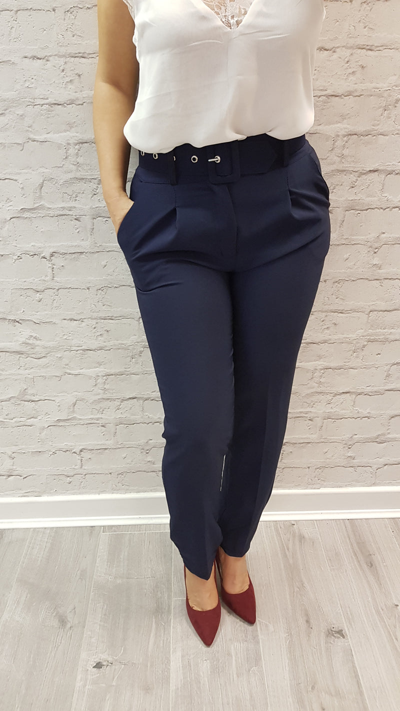 Molly Navy Belted Trousers - SIZE 10