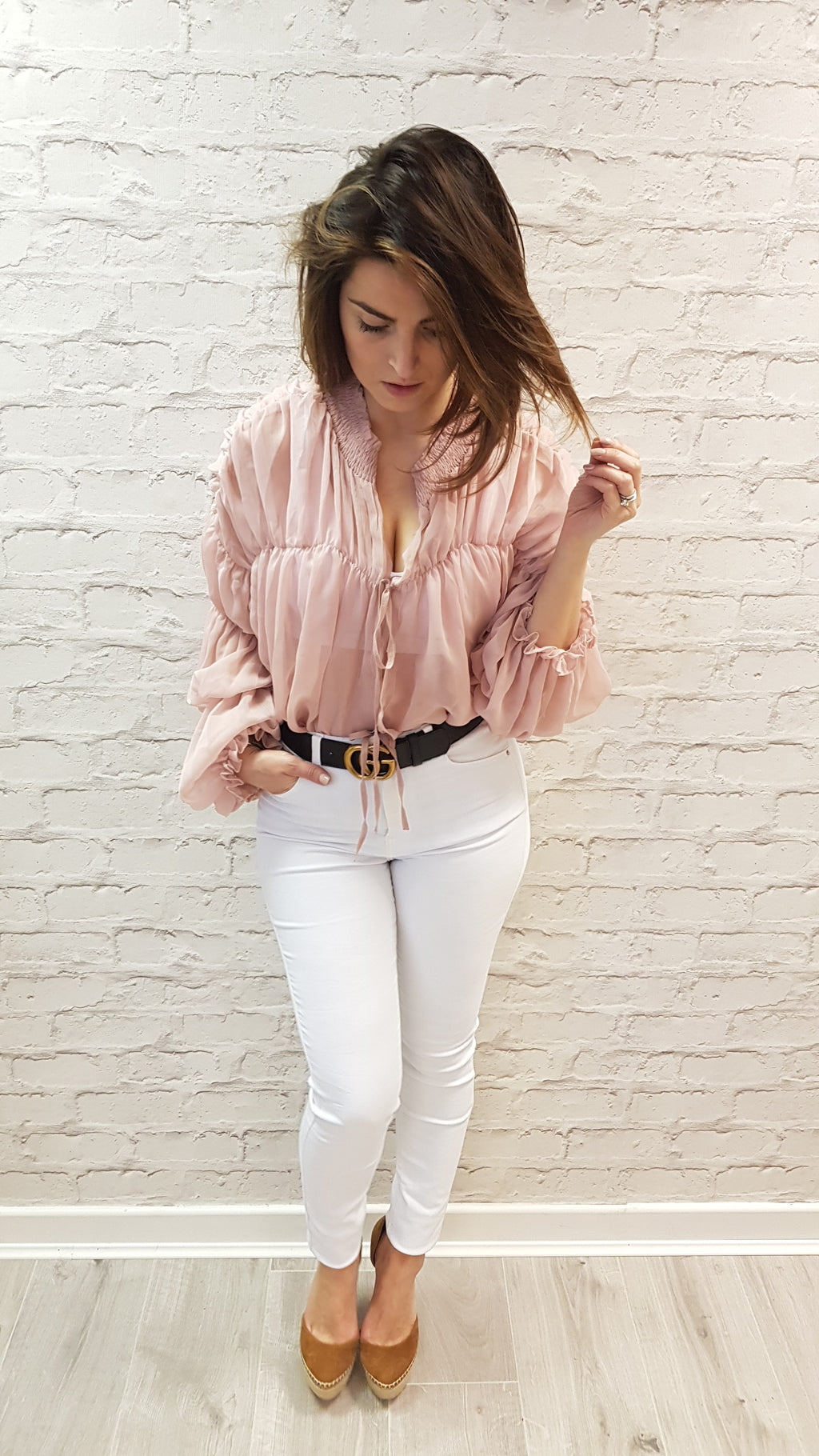 Ellie Ruffle Neck Top - ONLY PINK LEFT