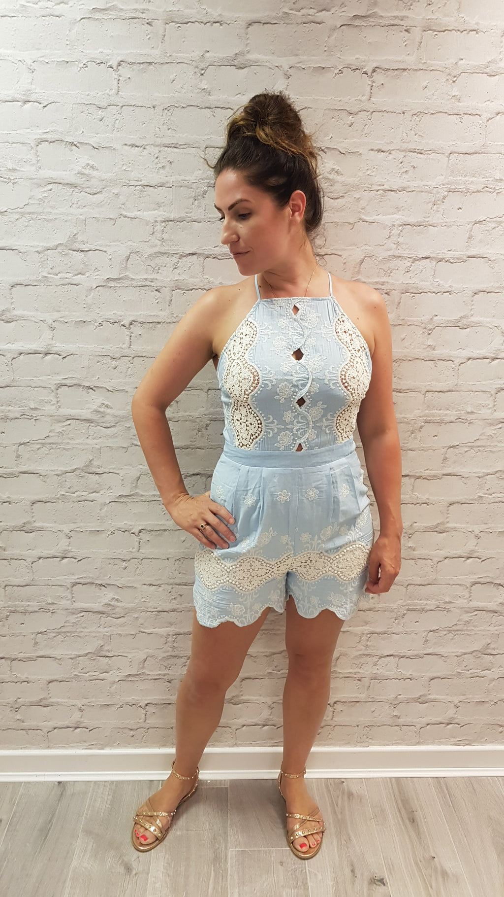 Jackie Embroidered Denim Blue Playsuit