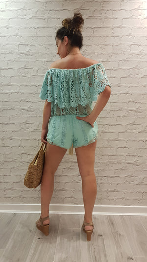 Kat Boho Mint Green Laurie & Joe Playsuit