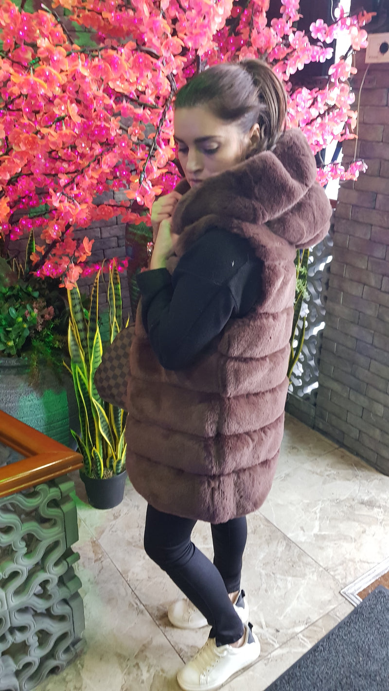 Nadeen Hooded Faux Fur Gilet