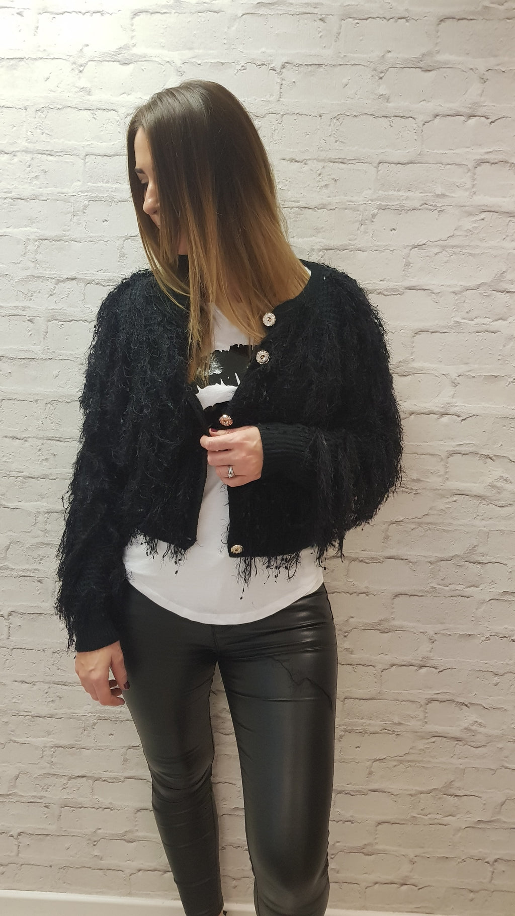 Gabbie Buttoned Fringed Short Cardi