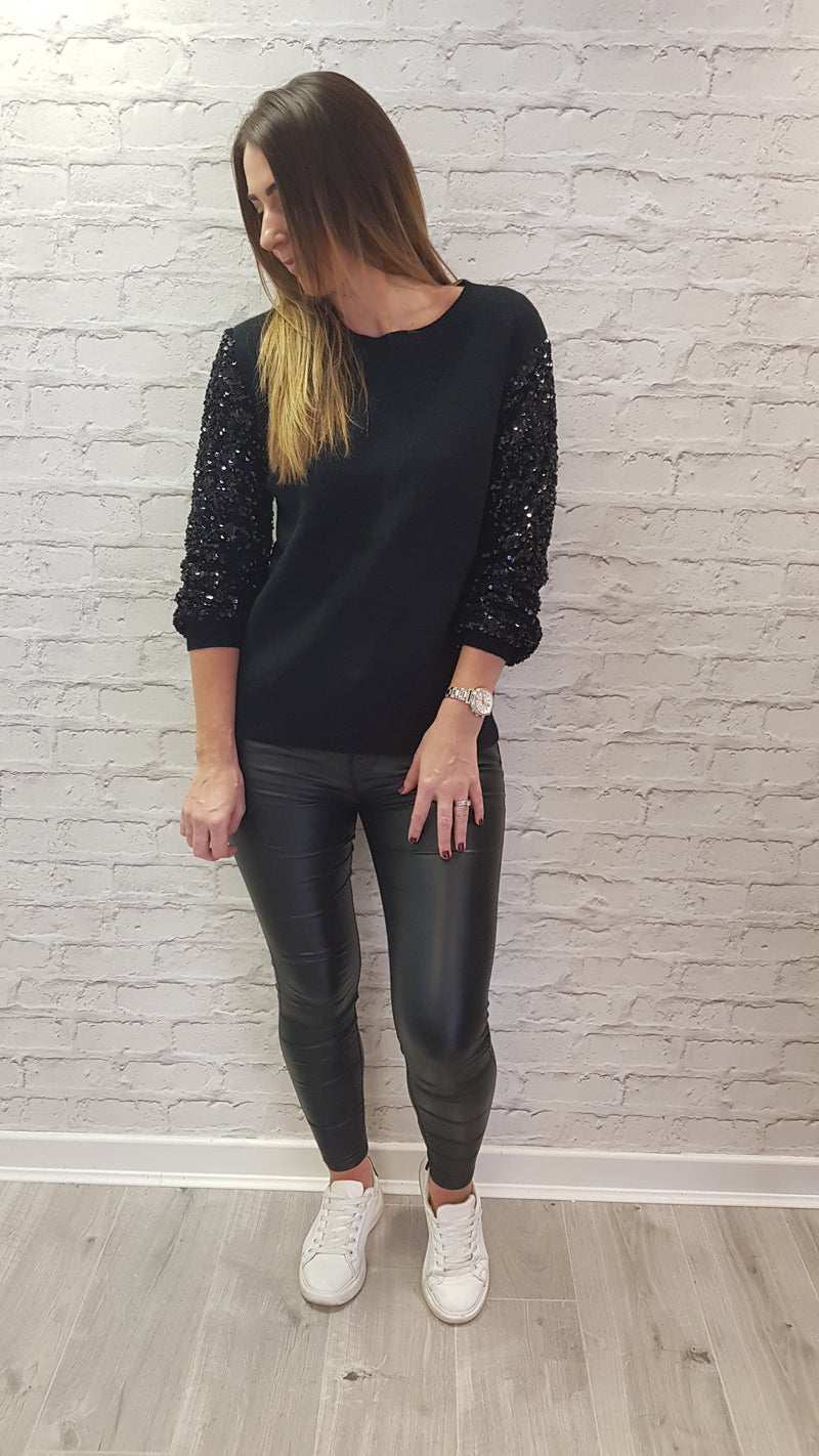 Cleo Sequin Sleeve Jumper