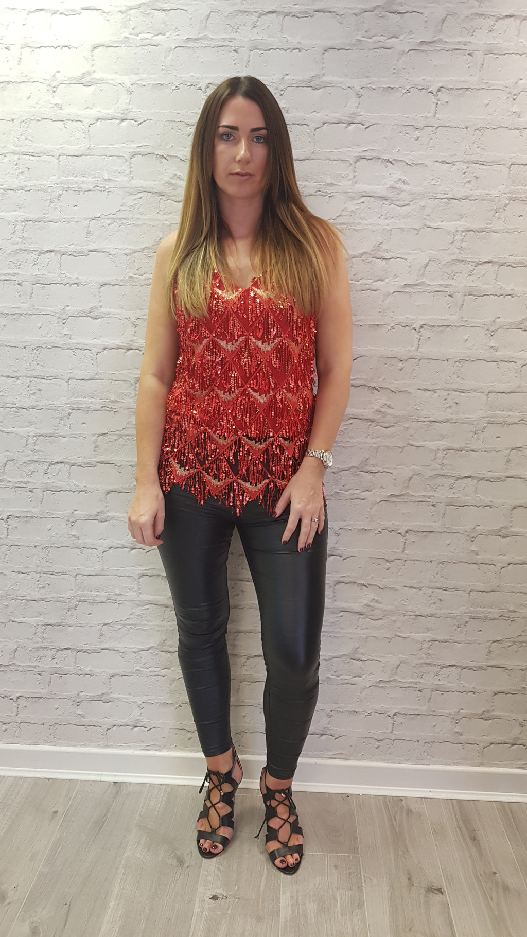 Darcie Flapper Sequin Top - Red