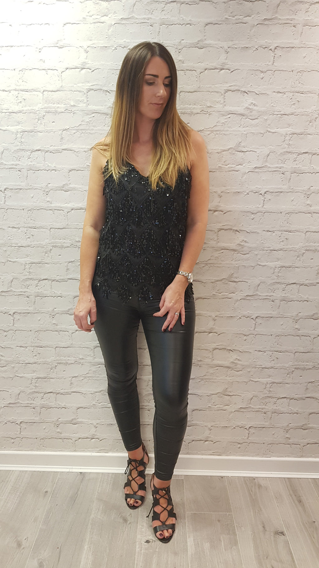 Darcie Flapper Sequin Top - Black