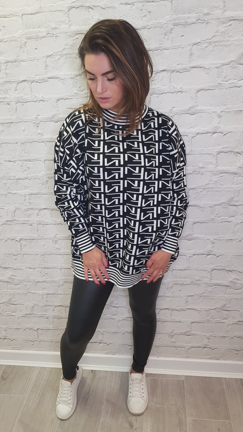 Fern Black & White Jumper