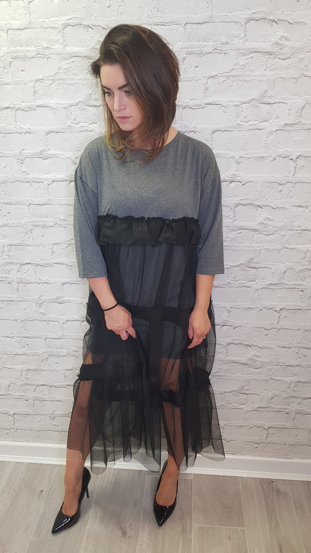 Lola T-shirt Dress with Tulle Detail