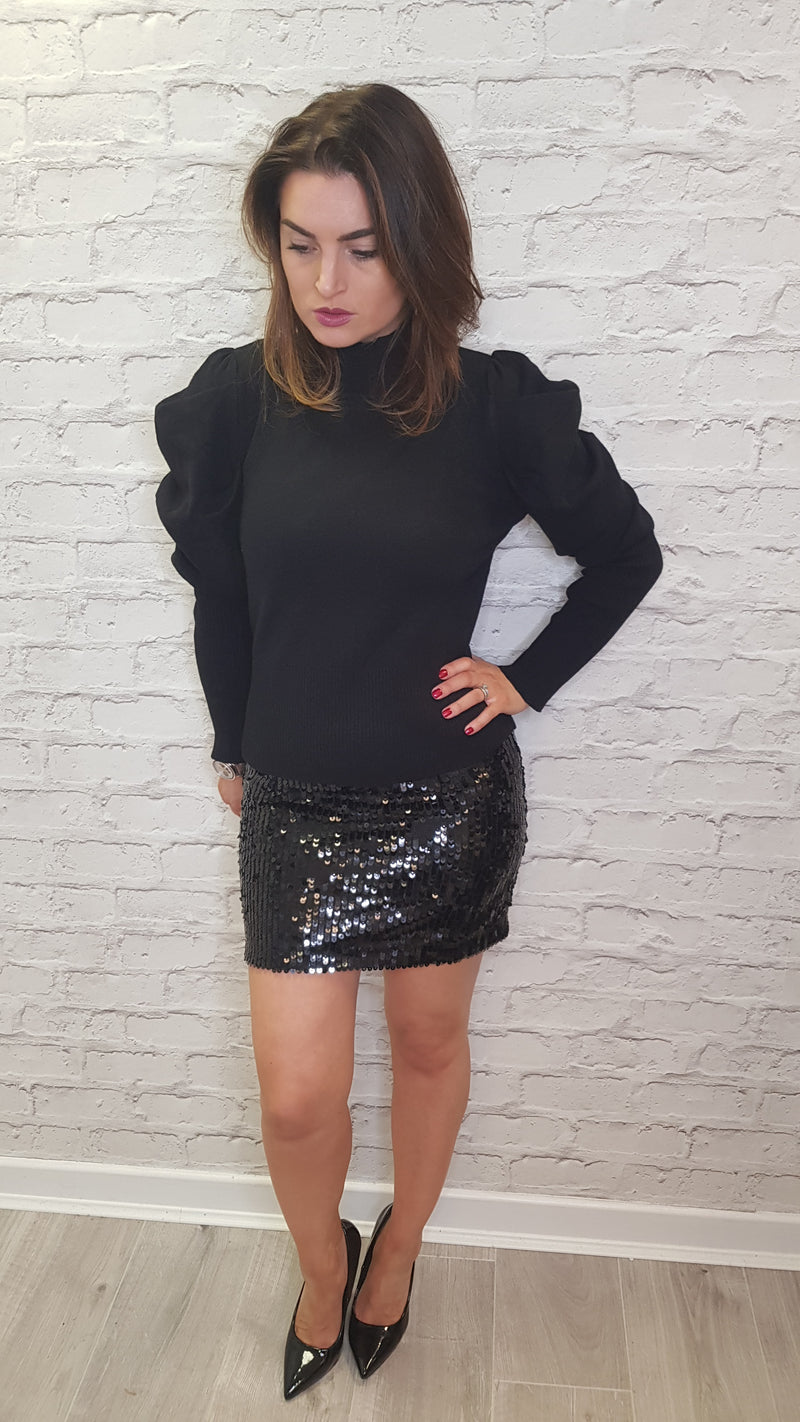 Ashley Sequin Mini Skirt Black