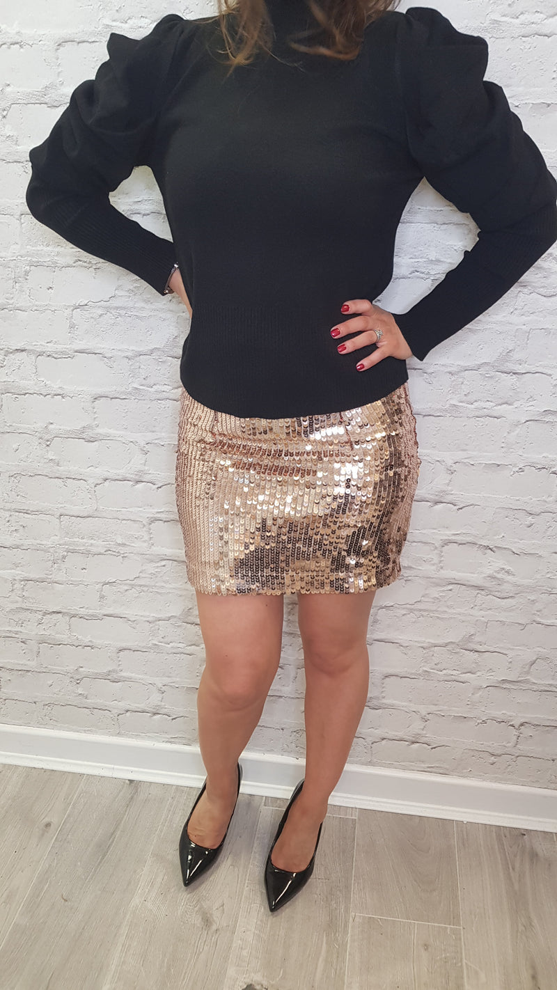 Ashley Sequin Mini Skirt - Gold Size Small