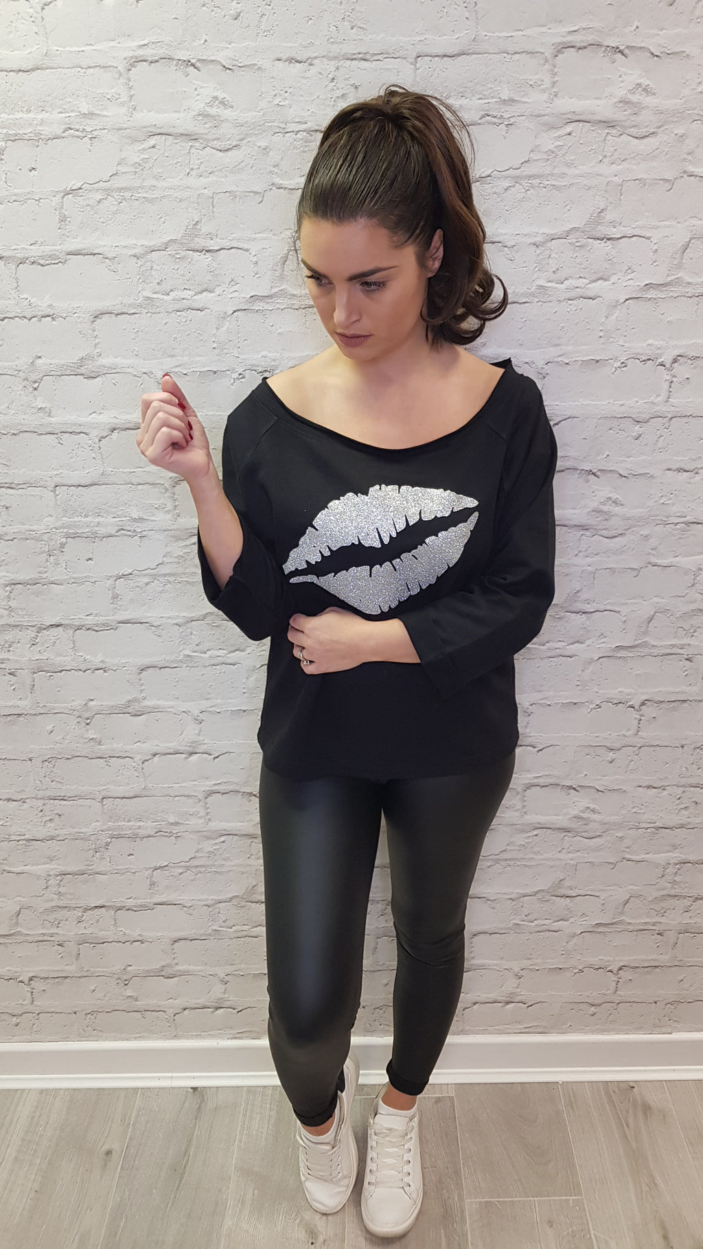 Gem Lips Scoop Neck Sweatshirt Silver Lips - Available in Black & White Sweatshirts