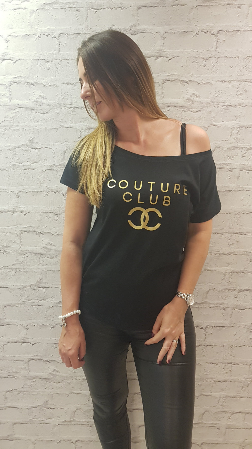 Slogan Couture Club - Scoop Neckline