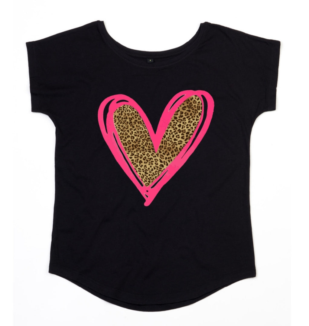 Evelina Heart Tee Scoop Neck - Available in Black, White & Grey Tees