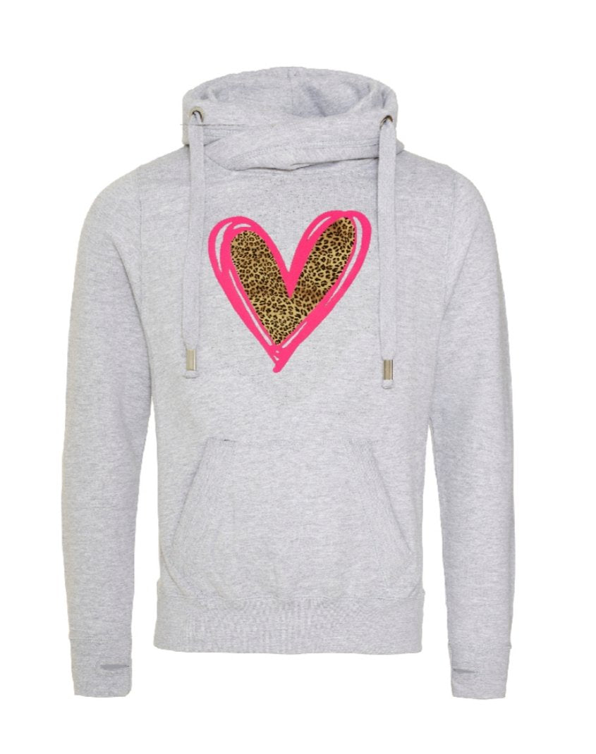 Evelina Heart Cowl Neck Longline Hoodie - Available in Black, Pink, Nude, Navy and Grey