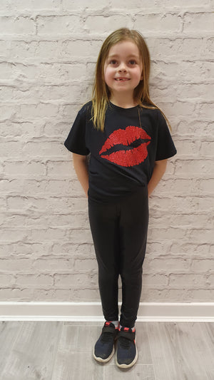 Slogan Tee Gem Lips Mini Red