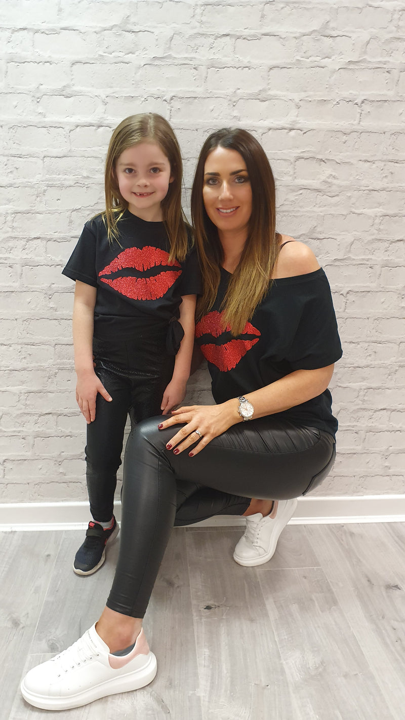 Gem Lips Mini Red - Available in Black or White Tees