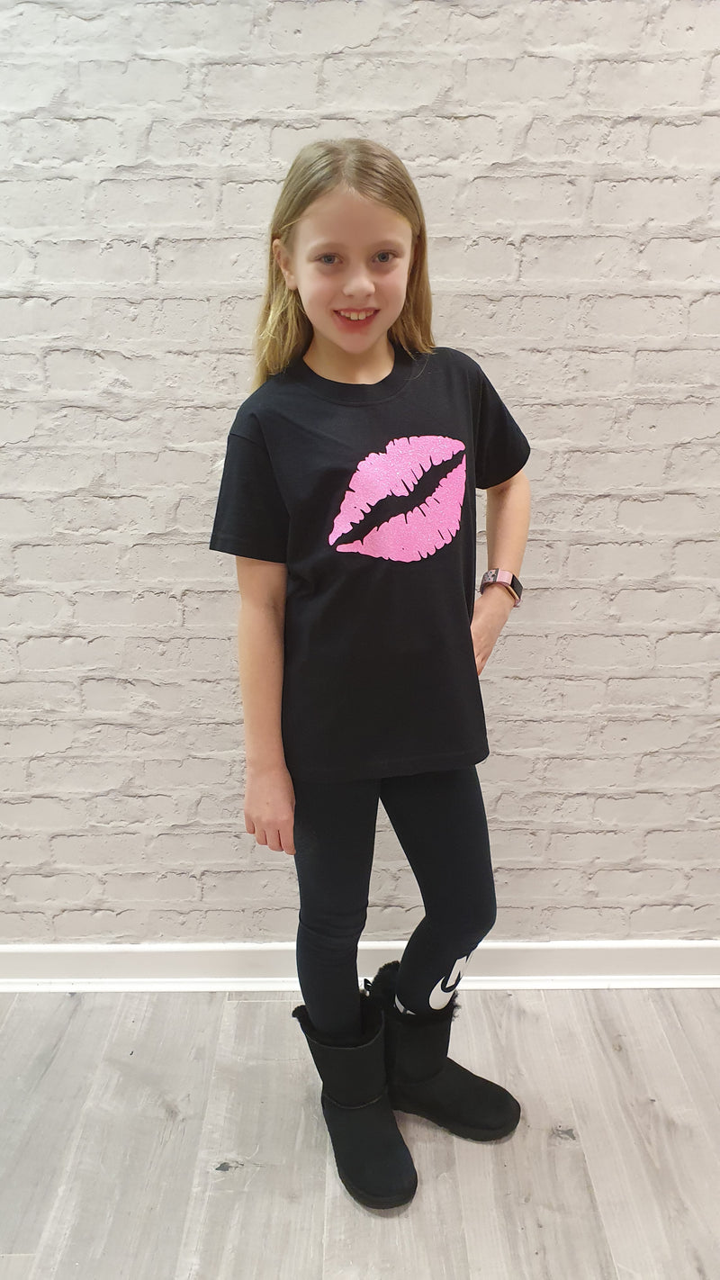 Gem Lips Mini Pink - Available in Black or White Tees