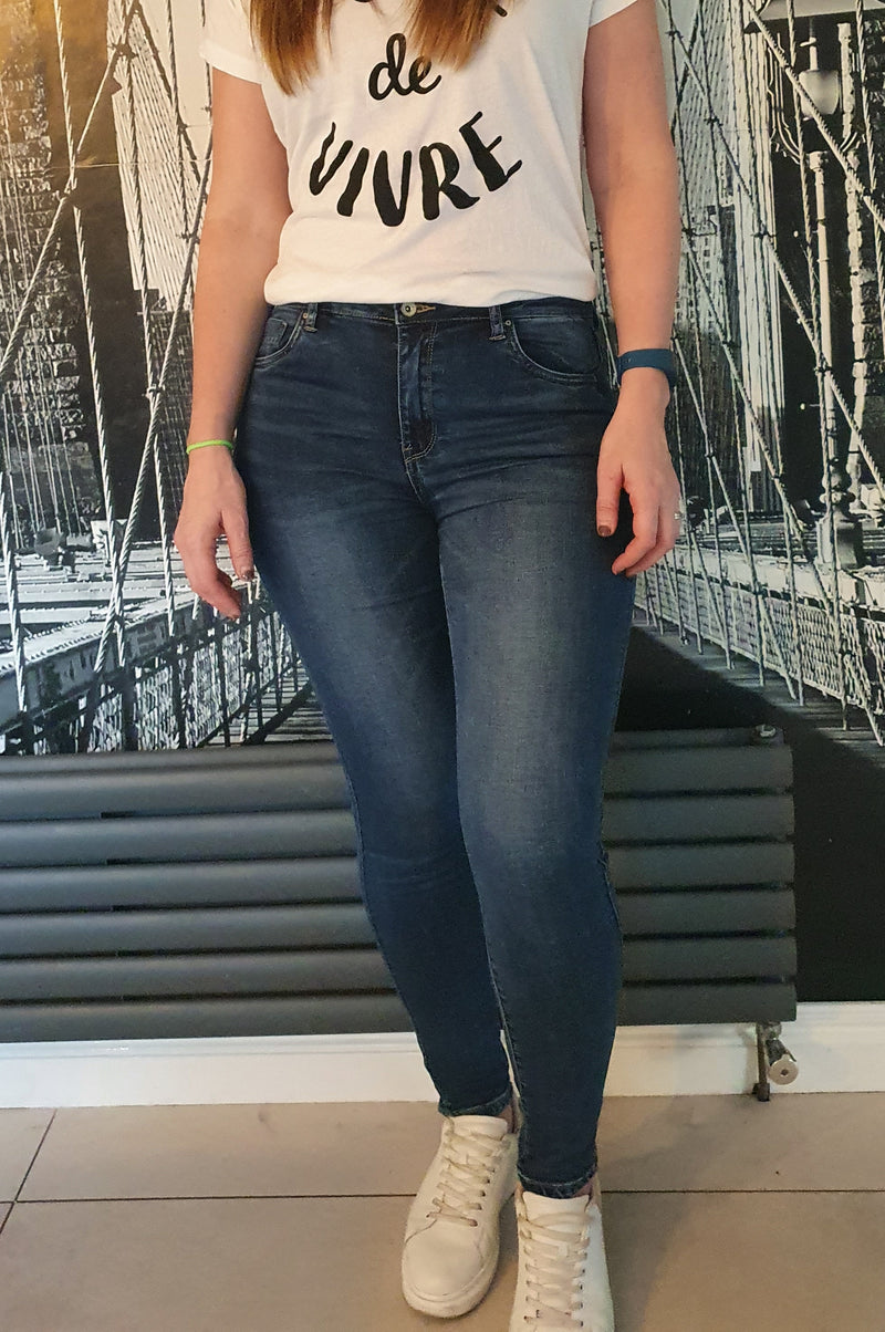 Sarah Mid Wash Skinny Blue Jeans - SIZE 8