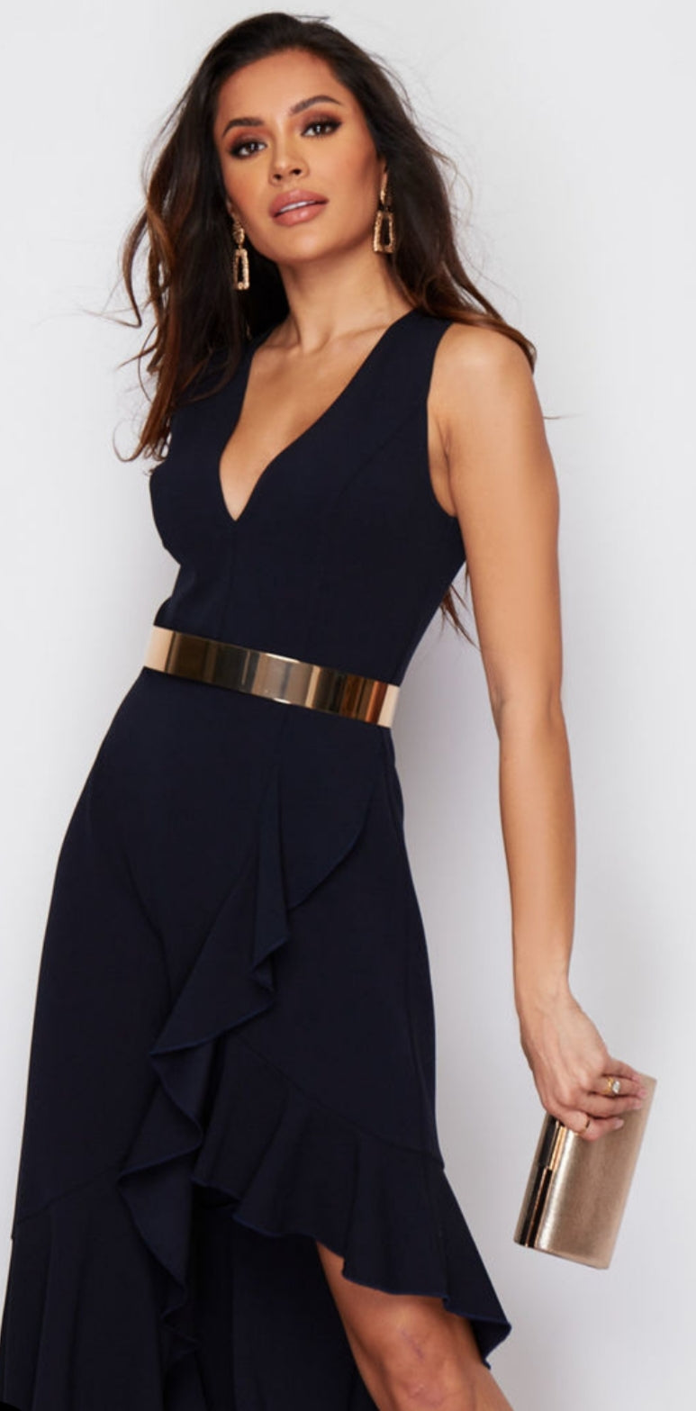 Francesca V Neck Asymmetric Frill Dress Navy