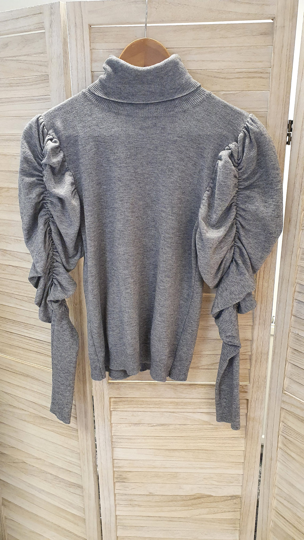 Caz Grey Puff Sleeve Roll Neck Jumper