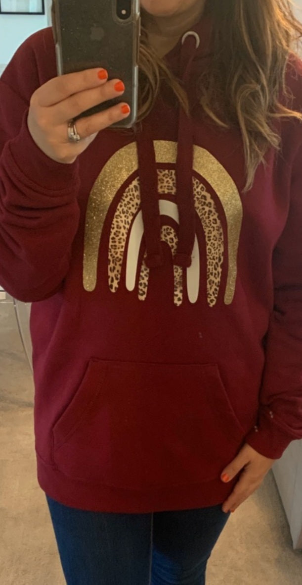 Gold Rainbow Classic Hoodie - Available in Burgundy